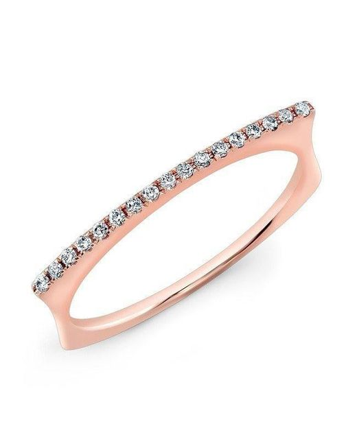 Anne Sisteron - Metallic 14kt Rose Gold Diamond Bar Dome Ring - Lyst