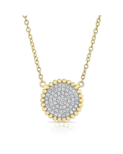 Anne Sisteron | Metallic 14kt Yellow Gold Diamond Large Scalloped Disc Necklace | Lyst