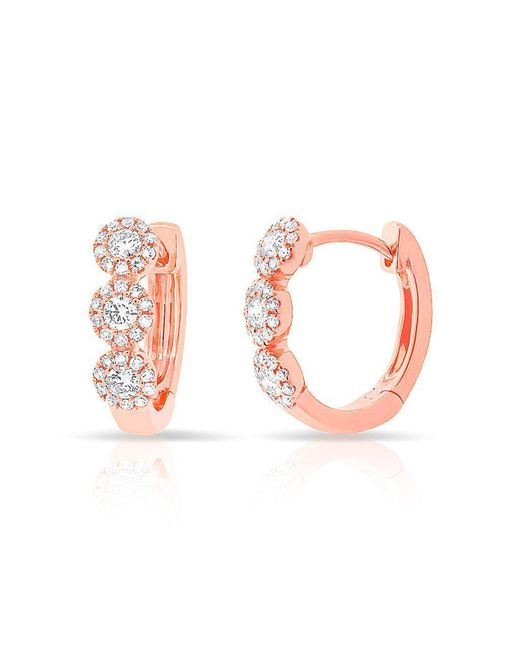Anne Sisteron - Pink 14kt Rose Gold Diamond Mila Huggie Earrings - Lyst