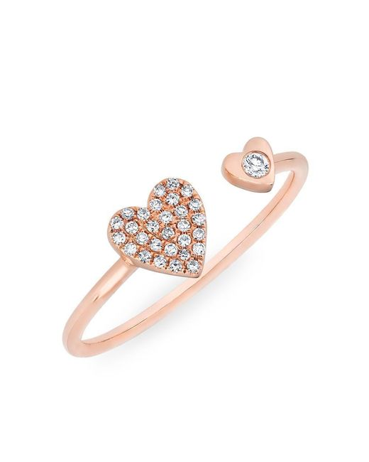 Anne Sisteron - Multicolor 14kt Rose Gold Diamond Double Heart Ring - Lyst