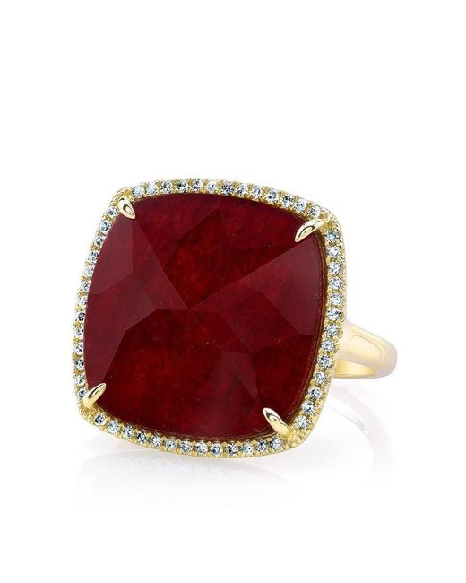 Anne Sisteron - Red 14kt Yellow Gold Ruby Diamond Cushion Cut Cocktail Ring - Lyst