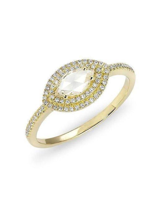 Anne Sisteron - Metallic 14kt Yellow Gold Diamond Marquis Double Halo Ring - Lyst