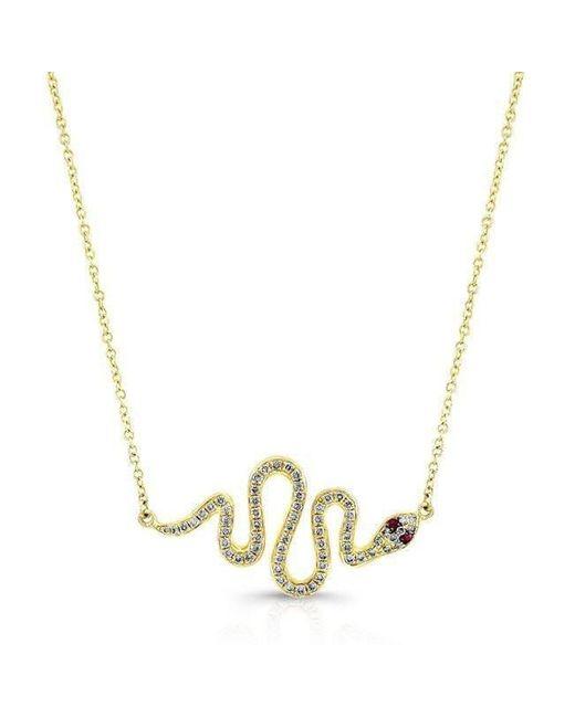 Anne Sisteron - Metallic 14kt Yellow Gold Ruby Eye Diamond Snake Necklace - Lyst