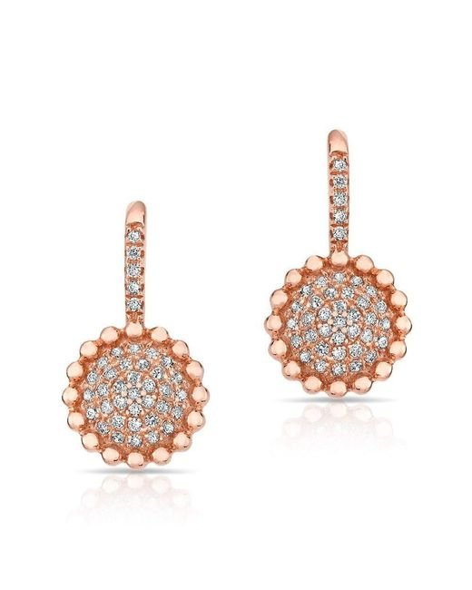 Anne Sisteron - Multicolor 14kt Rose Gold Diamond Scalloped Wireback Earrings - Lyst