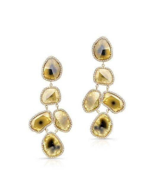 Anne Sisteron | Metallic 18kt Yellow Gold Canary Diamond Slice Earrings | Lyst