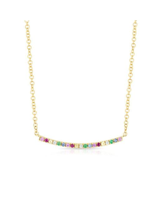 Anne Sisteron - Metallic 14kt Yellow Gold Rainbow Diamond Curved Bar Necklace - Lyst