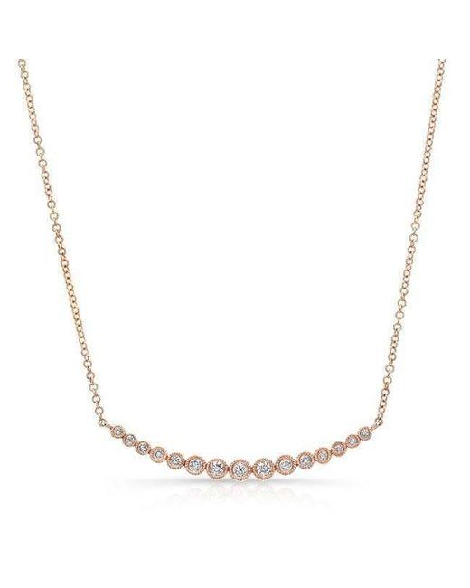 Anne Sisteron | Multicolor 14kt Rose Gold Diamond Crescent Bezel Necklace | Lyst