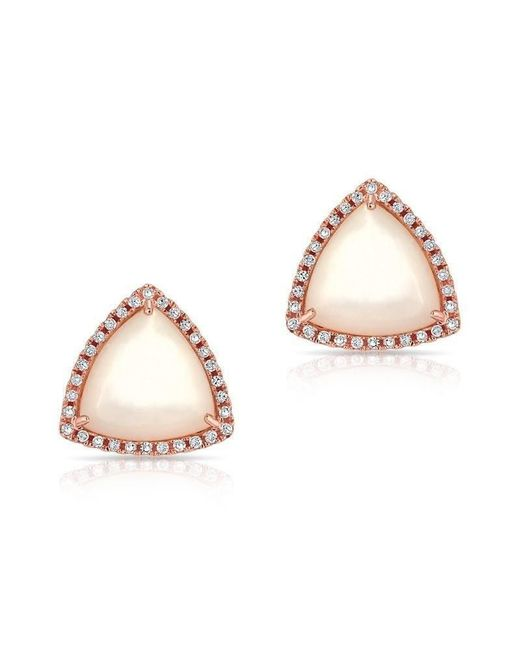 Anne Sisteron - Pink 14kt Rose Gold Mother Of Pearl Diamond Triangle Earrings - Lyst