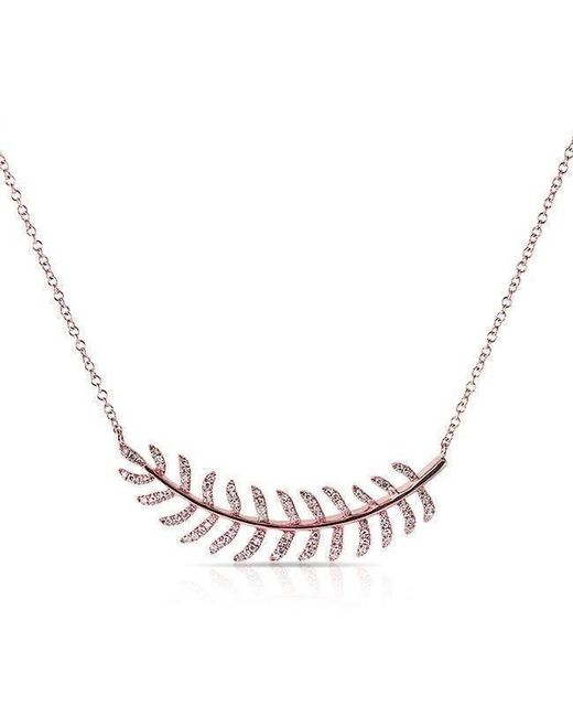 Anne Sisteron - Metallic 14kt Rose Gold Diamond Crescent Palm Necklace - Lyst