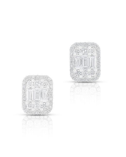 Anne Sisteron - Multicolor 14kt White Gold Baguette Diamond Rectangle Stud Earrings - Lyst