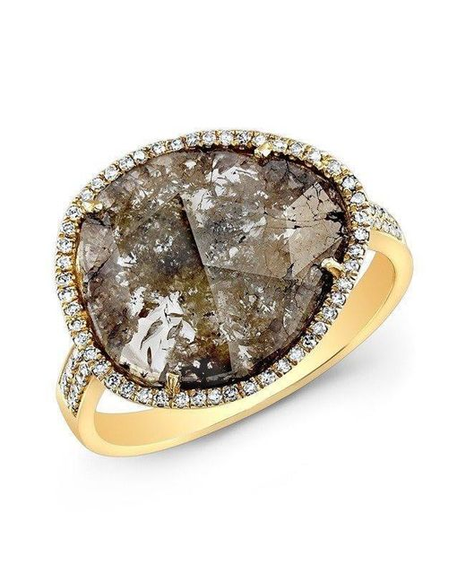 Anne Sisteron - Metallic 14kt Yellow Gold Diamond Slice Organic Ring - Lyst