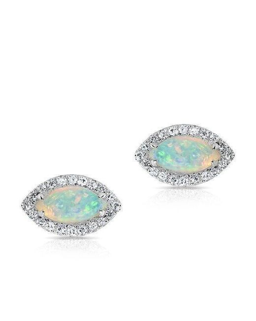 Anne Sisteron - Multicolor 14kt White Gold Opal Diamond Mini Marquis Stud Earrings - Lyst
