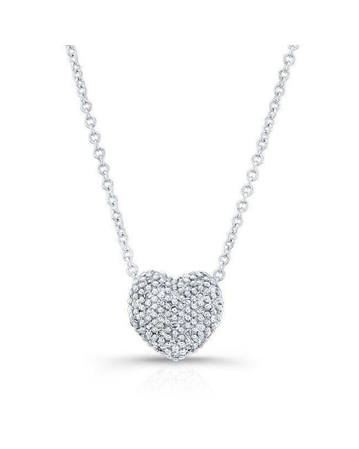 Anne Sisteron - Metallic 14kt White Gold Diamond Rounded Heart Necklace - Lyst