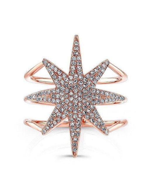 Anne Sisteron - Metallic 14kt Rose Gold Diamond Star Ring - Lyst