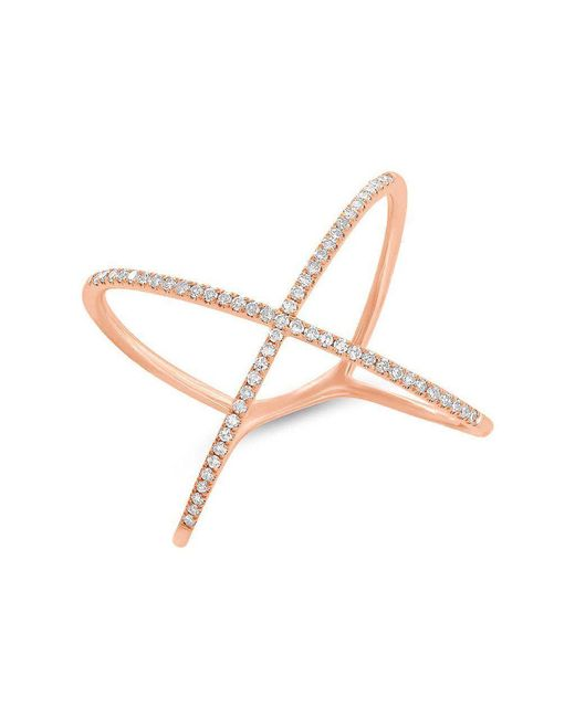 Anne Sisteron - Pink 14kt Rose Gold Diamond X Ring - Lyst