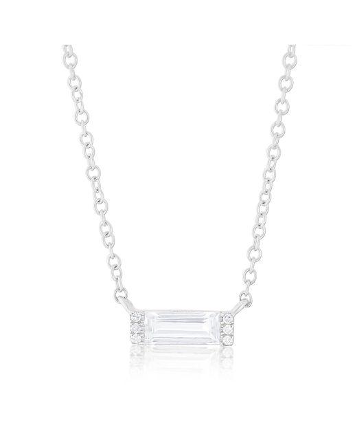Anne Sisteron - 14kt White Gold Diamond White Topaz Brick Necklace - Lyst