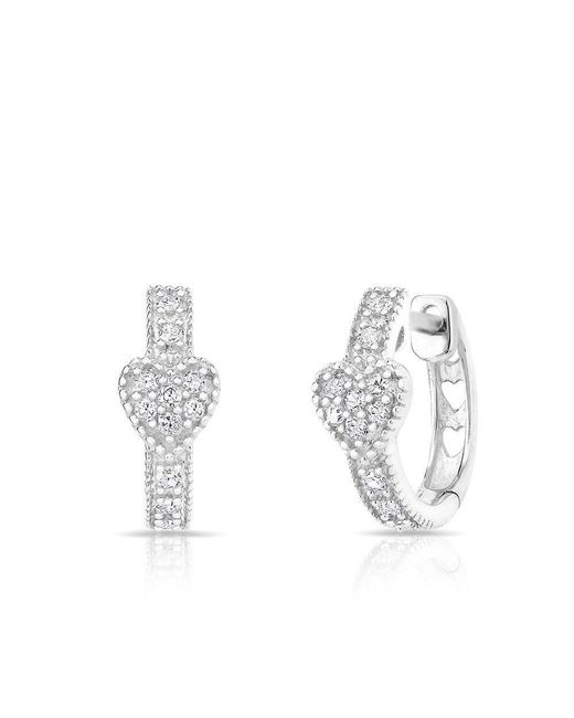Anne Sisteron - Metallic 14kt White Gold Diamond Heart Huggie Earrings - Lyst