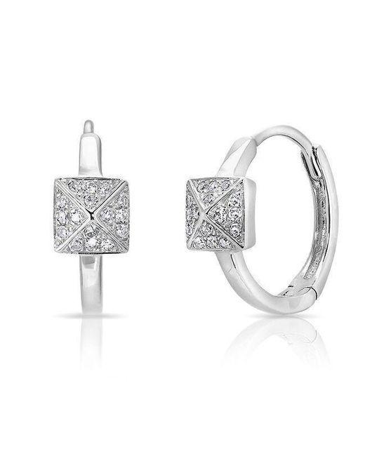 Anne Sisteron - Metallic 14kt White Gold Diamond Pyramid Huggie Earrings - Lyst