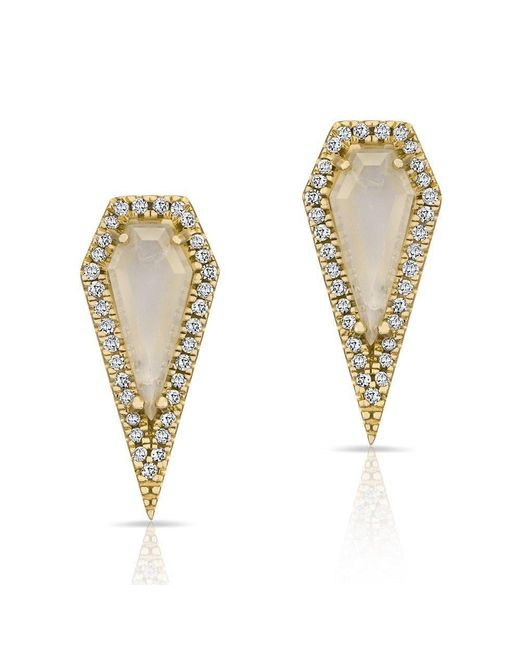 Anne Sisteron - Metallic 14kt Yellow Gold Moonstone Diamond Shield Earrings - Lyst