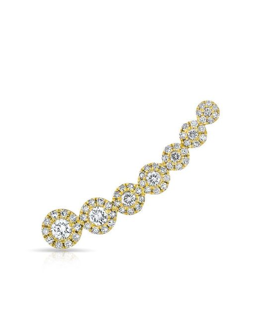 Anne Sisteron | Metallic 14kt Yellow Gold Diamond Round Malia Ear Climber | Lyst