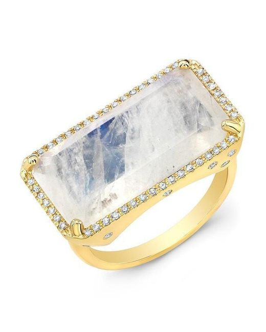 Anne Sisteron - Metallic 14kt Yellow Gold Diamond Base Moonstone Ring - Lyst