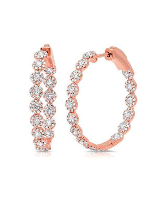 "Anne Sisteron - Multicolor 14kt Rose Gold Diamond Ellie 1.15"" Hoops - Lyst"