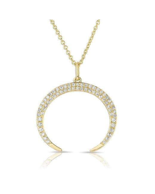 Anne Sisteron - Metallic 14kt Yellow Gold Diamond Crescent Moon Necklace - Lyst