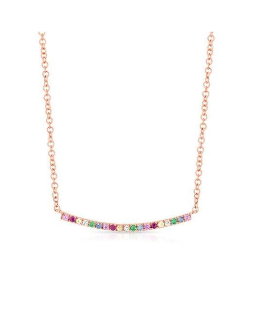 Anne Sisteron - Metallic 14kt Rose Gold Rainbow Diamond Curved Bar Necklace - Lyst
