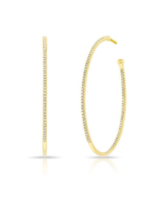 Anne Sisteron - Metallic 14kt Yellow Gold Diamond Pear Medium Hoop Earrings - Lyst