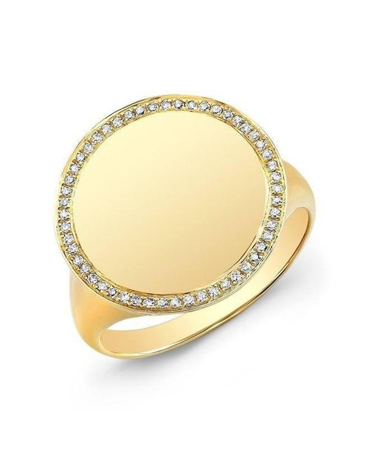 Anne Sisteron - Metallic 14kt Yellow Gold Diamond Solid Circle Ring - Lyst