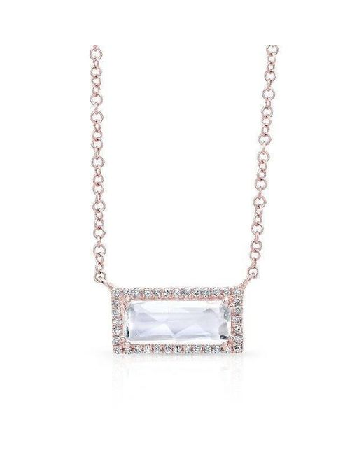 Anne Sisteron - Metallic 14kt Rose Gold Rectangle White Topaz Diamond Necklace - Lyst