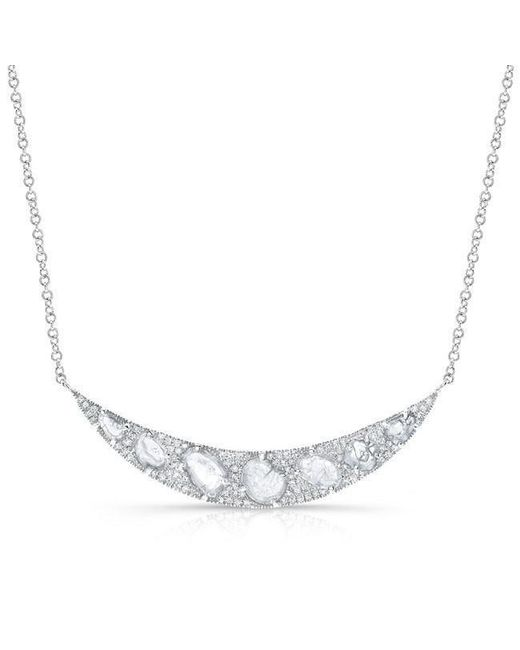 Anne Sisteron - Metallic 14kt White Gold Diamond Slice Crescent Necklace - Lyst
