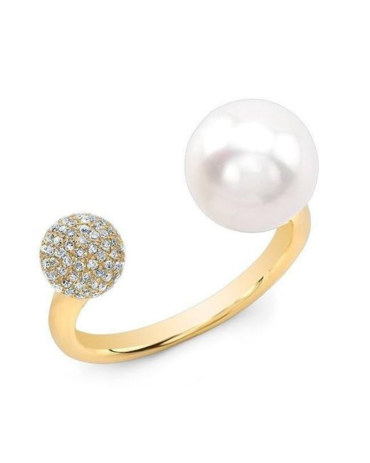 Anne Sisteron - Metallic 14kt Yellow Gold Diamond Dome And Pearl Ring - Lyst