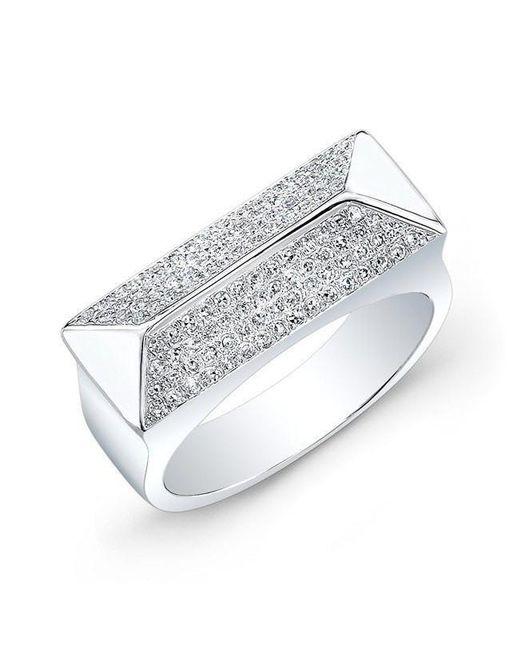 Anne Sisteron - Metallic 14kt White Gold Diamond Pyramid Bar Ring - Lyst