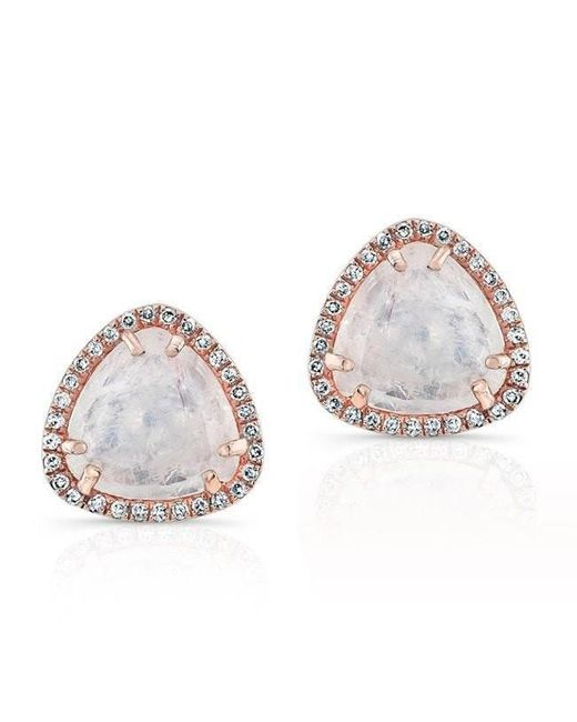Anne Sisteron | Multicolor 14kt Rose Gold Diamond Moonstone Stud Earrings | Lyst
