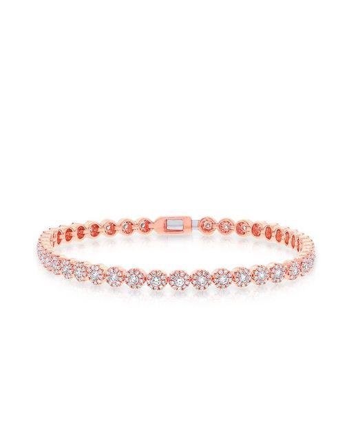 Anne Sisteron - Pink 14kt Rose Gold Diamond Love Collection Tennis Bracelet - Lyst