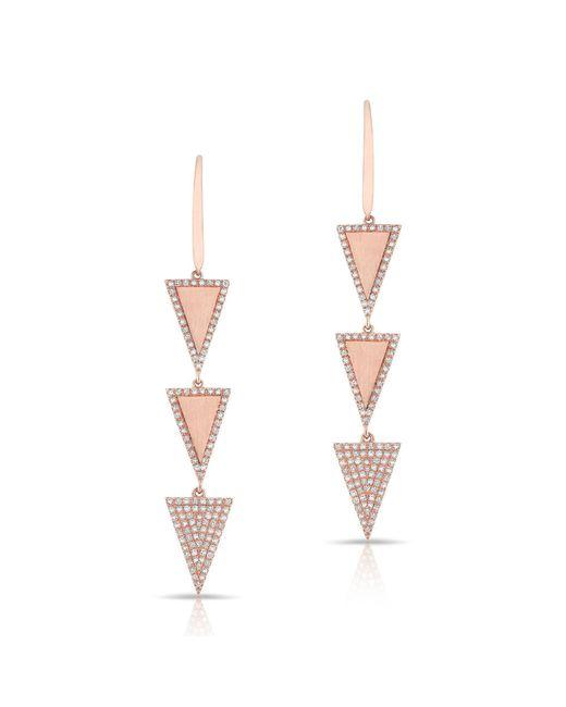 Anne Sisteron - Pink 14kt Rose Gold Diamond Triple Triangle Wireback Earrings - Lyst