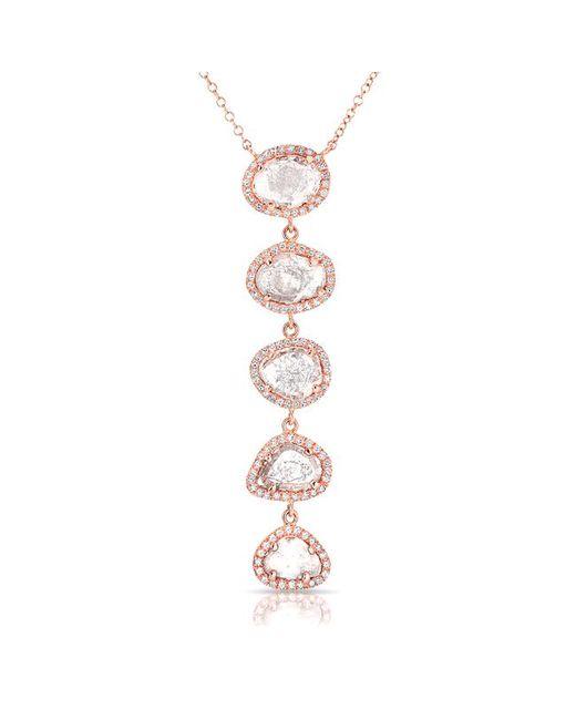 Anne Sisteron - Metallic 14kt Rose Gold Diamond Slice Drop Necklace - Lyst