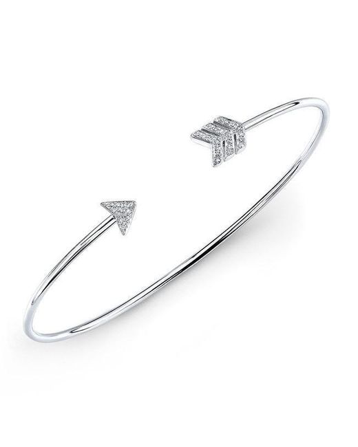 Anne Sisteron | Metallic 14kt White Gold Diamond Arrow Cuff | Lyst