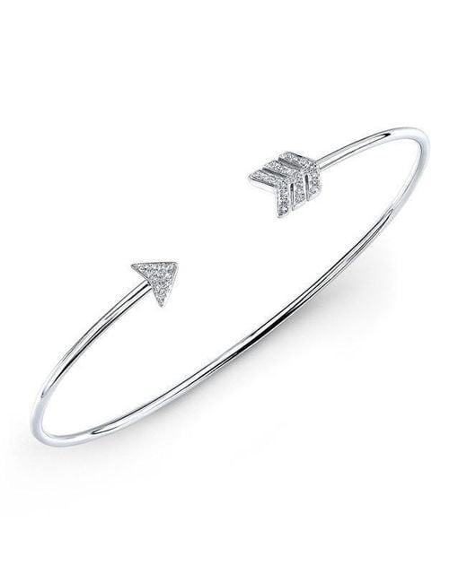 Anne Sisteron | Metallic 14kt White Gold Diamond Arrow Cuff | Lyst