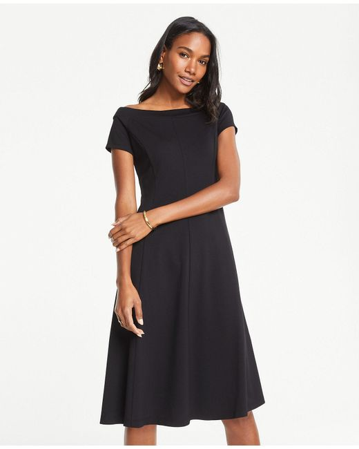 Ann Taylor Tall Off The Shoulder Ponte Flare Dress In