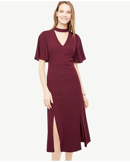 Ann Taylor | Red Cutout Flutter Flare Dress | Lyst