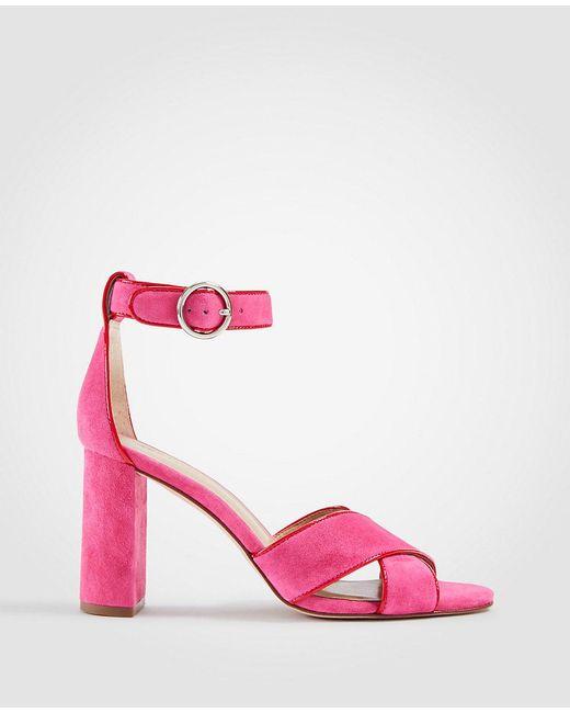 ANN TAYLOR Nicole Patent Block Heel Sandals 7wodgYE