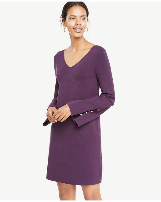 Ann Taylor - Purple Pearlized Button Slit Cuff Sweater Dress - Lyst