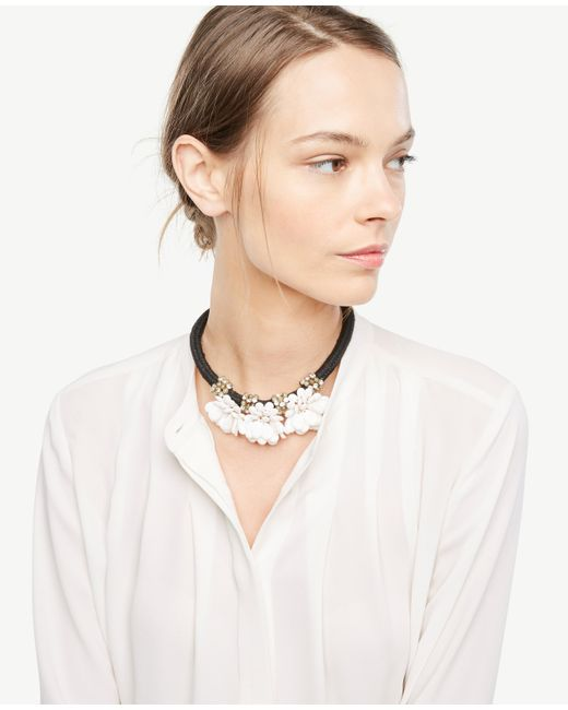 Ann Taylor | White Floral Statement Necklace | Lyst