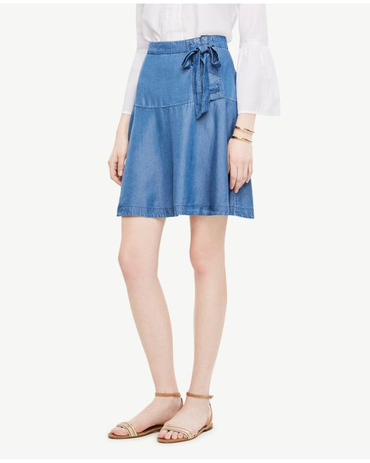 Ann Taylor | Blue Chambray Lace Up Skirt | Lyst
