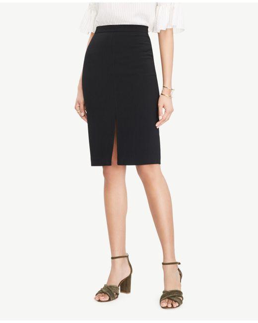 Ann Taylor | Black Petite Textured Slit Pencil Skirt | Lyst