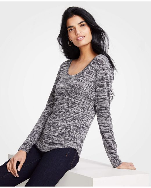 Ann Taylor - Gray Marled Scoop Neck Long Sleeve Tee - Lyst