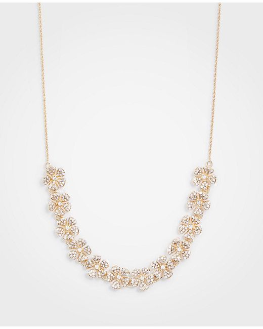 Ann Taylor - Metallic Pave Clover Slider Necklace - Lyst
