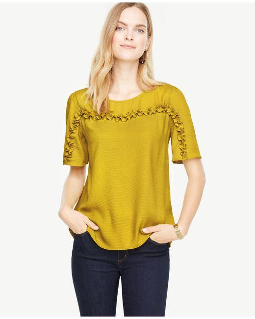 Ann Taylor | Yellow Ruffle Trim Top | Lyst